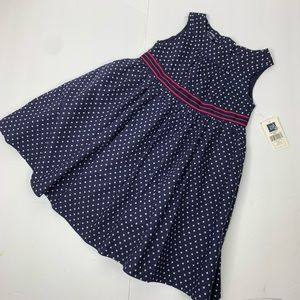 Baby Gap Navy & White Polka Dot Lined Cotton Dress